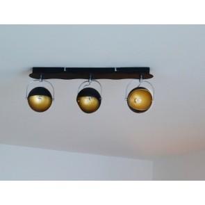 KANA barre de 3 spots G9 3x28W Noir et Or Long 50cm