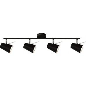 ASTRID barre de 4 spots noir E14 maxi 40w Long 80.5cm