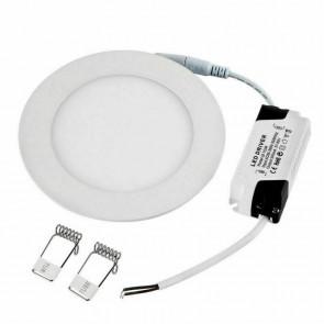 kit de 1 spot rond blanc extra plat pour encastrement Led intégré 4w 150 lumens 3000K DIAM 85mm epaisseur 10mm tibelec