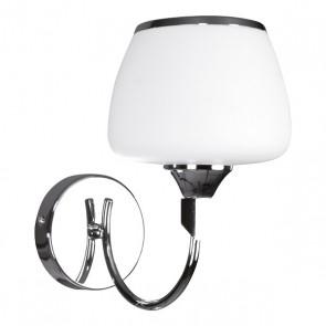 RONDA applique E14 40W métal chromé verre blanc