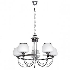 RONDA lustre 5L E14 5X40W métal chrome, verre blanc