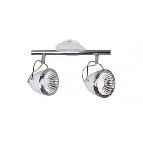 OLIVER barre de 2 spots blanc chrome GU10 led 5W 900 lumens avec ampoule