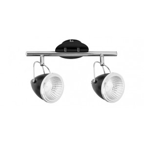 OLIVER barre de 2 spots noire chrome GU10 led 5W 900 lumens avec ampoule