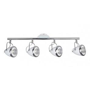 OLIVER barre de 4 spots blanc chrome GU10 led 5W 1800 lumens avec ampoule