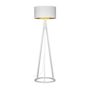 lampadaire diam 50 cm trepied avec socle Rond E27 60w haut 174cm hêtre massif blanc abatjour ext blanc int or VICTORIA