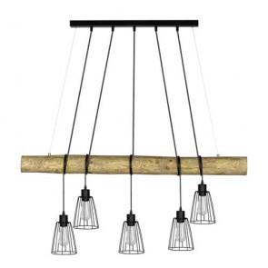 lustre bois 5xE27 60W pin teinté et cage métal noir Long115cm abat jour fil métal noir TRABO LONG