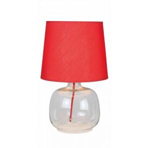 MANDY lampe à poser E14 40W pied transparent abat jour rouge haut 35cm