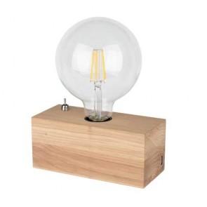 lampe à poser bois E27 25W maxi  H8cm L18cm chêne huilé avec prise chargeur usb THEO