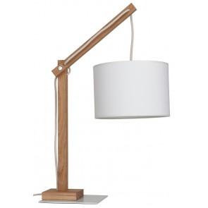 JEUNESSE lampe à poser E27 40W haut 49cm chene huilé abat jour textile blanc diam 22cm 7567174