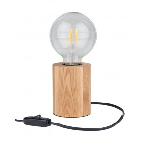 lampe en bois pour chevet et table 1XE27 60W diam 8cm H8cm chêne huilé MINNIE