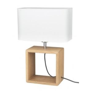 cadre lampe à poser haut 45cm pied chene huilé abat-jour textile blanc 702974 britop