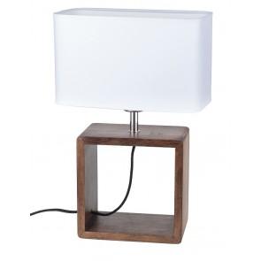 cadre lampe à poser haut 45cm pied hetre noyer abat-jour textile blanc 7702976 britop