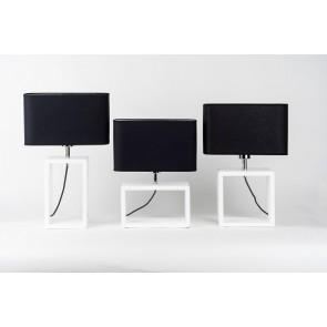 CADRE lampe de table E27 25W maxi pied hêtre blanc abat jour textile noir haut 45cm