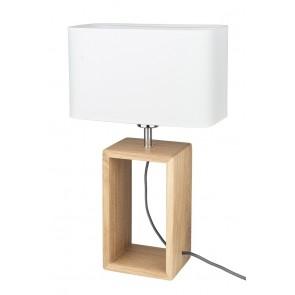 cadre lampe à poser haut 48cm pied chene huilé abat-jour textile blanc 7712974 britop