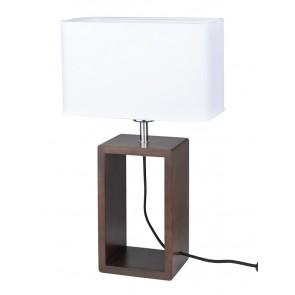 cadre lampe à poser haut 48cm pied hetre noyer abat-jour textile blanc 7712976 britop