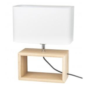 cadre lampe à poser haut 38cm pied chene huilé abat-jour textile blanc 7722974 britop