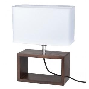 cadre lampe à poser haut 38cm pied hetre noyer abat-jour textile blanc 7722976 britop