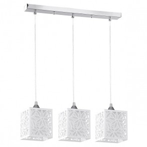 ANIKA barre chrome avec 3 suspensions E27 60W chrome/blanc Long 53cm