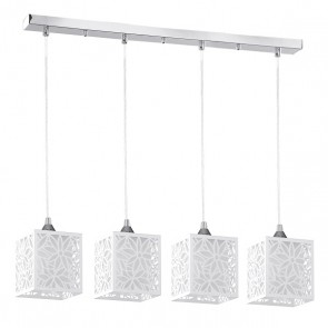 ANIKA barre chrome avec 4 suspensions E27 60W chrome/blanc Long 73cm
