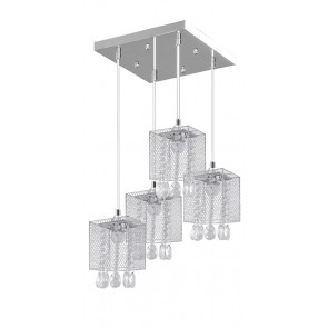 GRACJA plafonnier 4 suspensions chrome E27 60W maxi 33cm