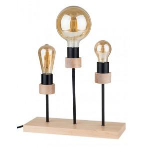 CHANDELLE lampe de table E27 3x15W chêne huilé sans ampoule