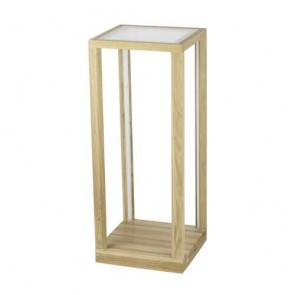 sellette table lumineuse led 24v 33w bois chene huilé et verre 3080 lumens avec inter à variateur hauteur 61.5cm TAVOLI GLASS