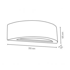applique béton arc demi lune gris foncé e27 max 40w 35.5cmx13.5cmx10.5cm  BLOCK