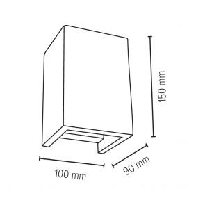 applique béton gris clair blanc GU10 2x6w maxi h15cm x10cm x9cm BLOCK