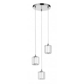 MERILO plafonnier rond chrome diam 30 cm avec 3 suspensions verre E27 3x60w maxi