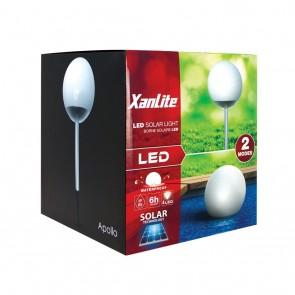 Lot de 1 balise solaire boule diam 200 ip65 équipées de 4 LED blanc Froid 25 lumens 2 modes de pose xanlite pour balisage decoratif solaire