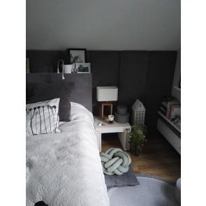 CADRE lampe à poser hauteur 48cm E27 25W pied chene huilé abat jour textile blanc