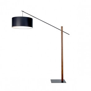 CECILE lampadaire E27 60W haut 2m bois hetre abat jour textile
