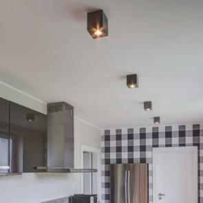 spot encastré carré plafonnier GU10 LED 5W incl Béton gris foncé 320 lumens CONCRETE DREAM