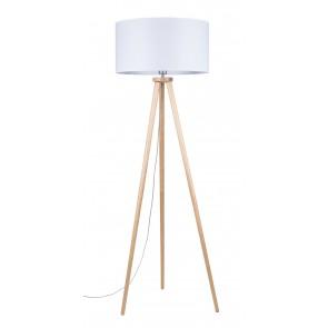 ennie lampadaire trepied bouleau haut 160cm abat jour blanc diam50cm 74101060
