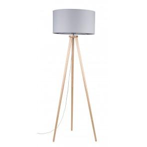 ennie lampadaire trepied haut 160cm bois bouleau abatjour gris diam50cm 74102060 britop