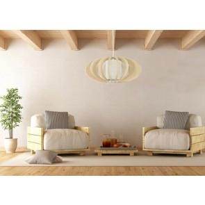 KEIKO suspension diam 44cm E27 60w maxi bois bouleau naturel et abat jour beige