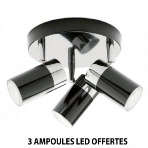 Plafonnier x3 spots VENUS Chrome / Noir
