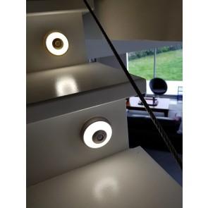 LINUS LTH ACIER éclairage rond pour meuble avec détecteur rechargeable autonome Led 100 Lumen