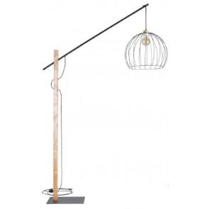 MANDARINE lampadaire bois bouleau haut 2m E27 60w abat jour métal diam 57 cm 75053904 britop