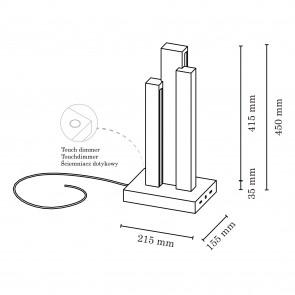 lampe à poser led 24v 16.5w bois chene huilé 1470 lumens avec inter à variateur hauteur 45cm MANHATTAN Britop