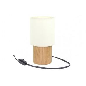 MINNIE lampe de table 1XE27 60W diam 8cm H8cm chêne huilé abat jour blanc maxi 25w