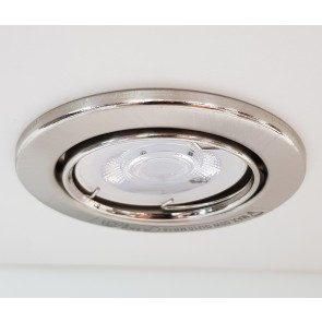 spots encastrés led metal nickel brossé orientable kit de 5 spots gu10 led 5W inclu 5x345 lumens 2700k CALI PRESS METAL